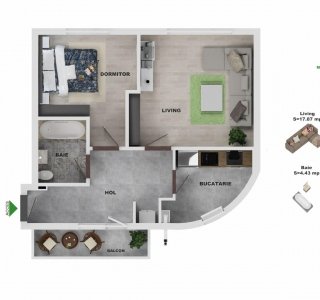 Apartament - 2 camere Titan